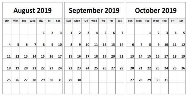 August September October 2019 Calendar Printable