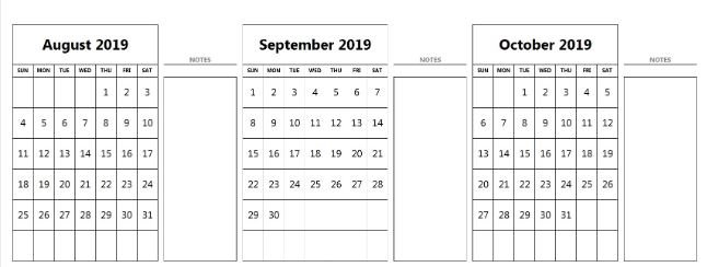 August September October 2019 Calendar With Notes