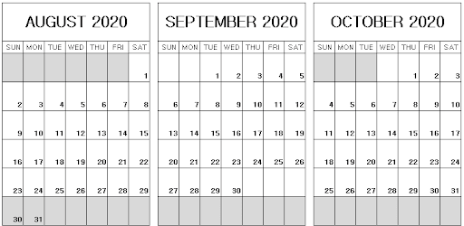 August September October 2020 Calendar Template
