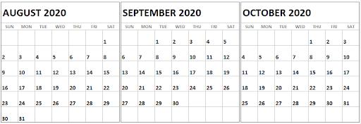 August September October 2020 Calendar