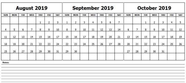 August September October Calendar 2019