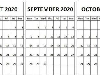August September October Calendar 2020