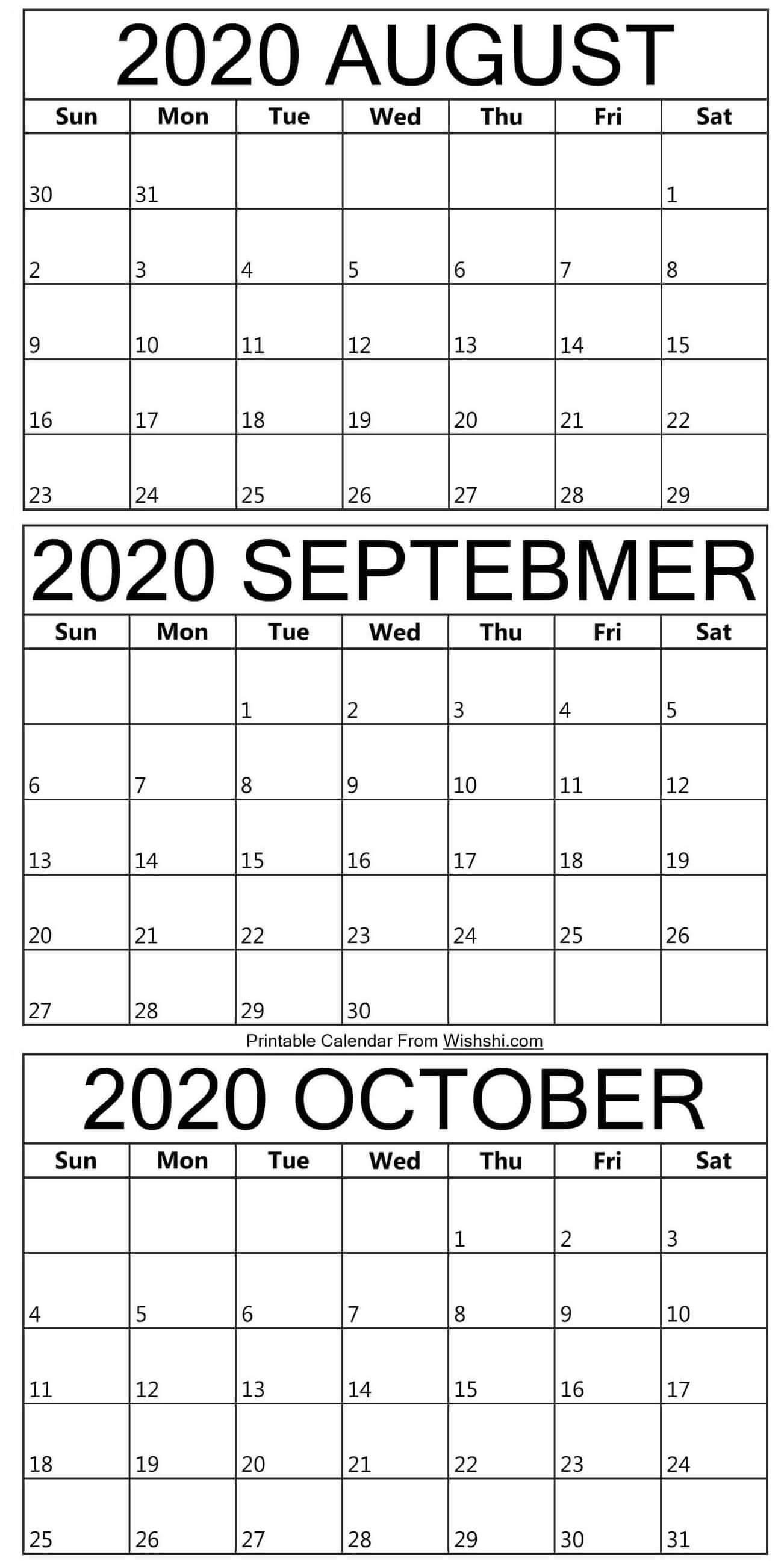 August To October 2020 Calendar