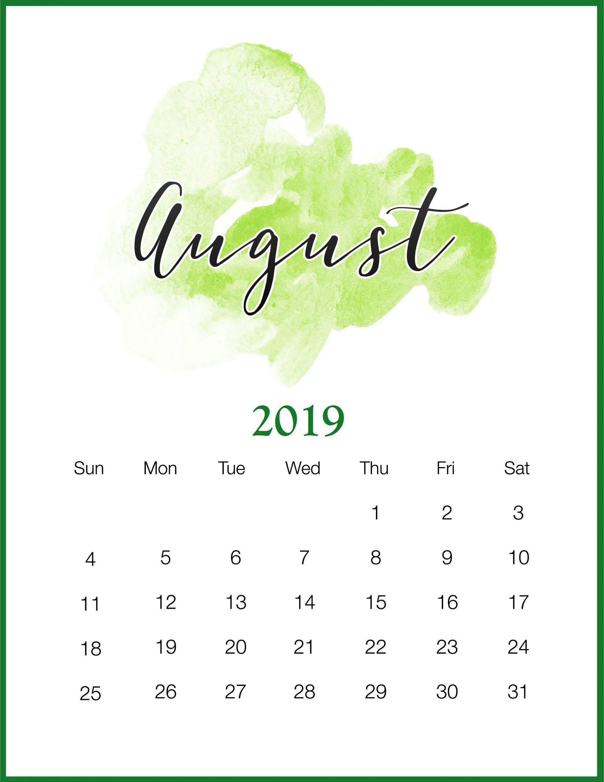 August Wall Calendar 2019