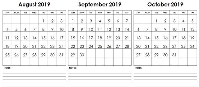 Blank Aug Sept Oct 2019 Calendar