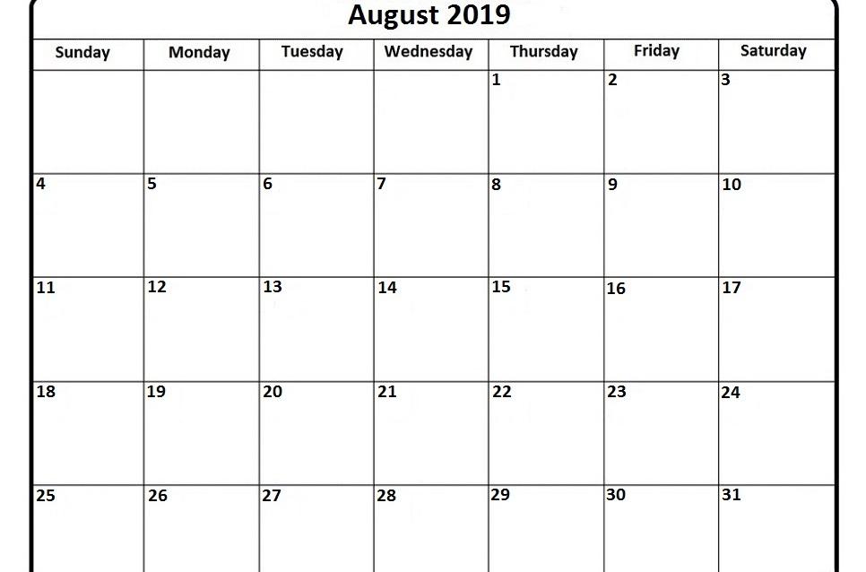 Blank August 2019 Calendar PDF