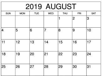 Blank August 2019 Calendar Word