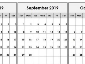Blank August September October 2019 Calendar Template