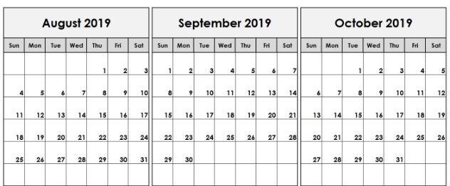Blank August September October 2019 Calendar Template
