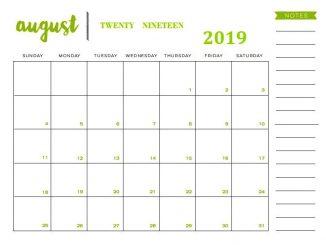 Cute August 2019 Calendar Template