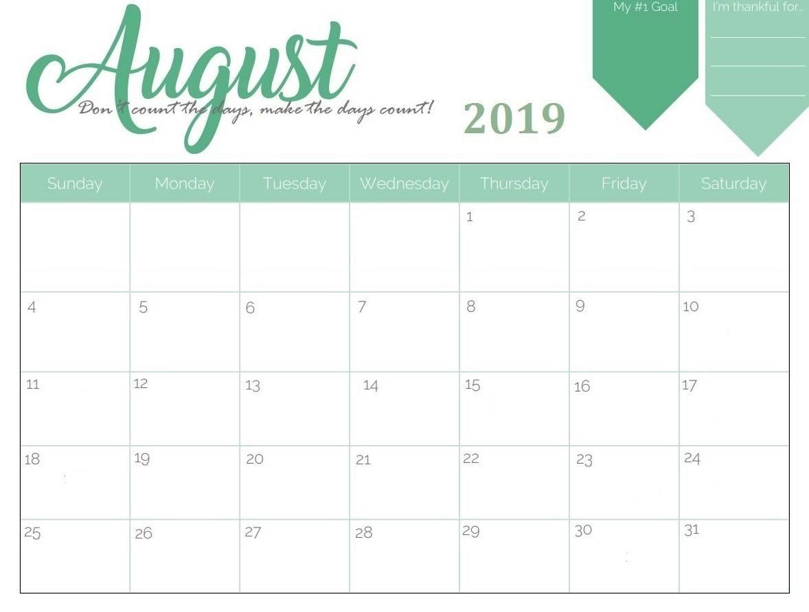 Cute August 2019 Wall Calendar