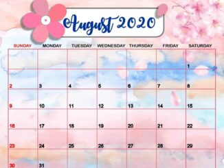 Cute August 2020 Calendar Wallpaper
