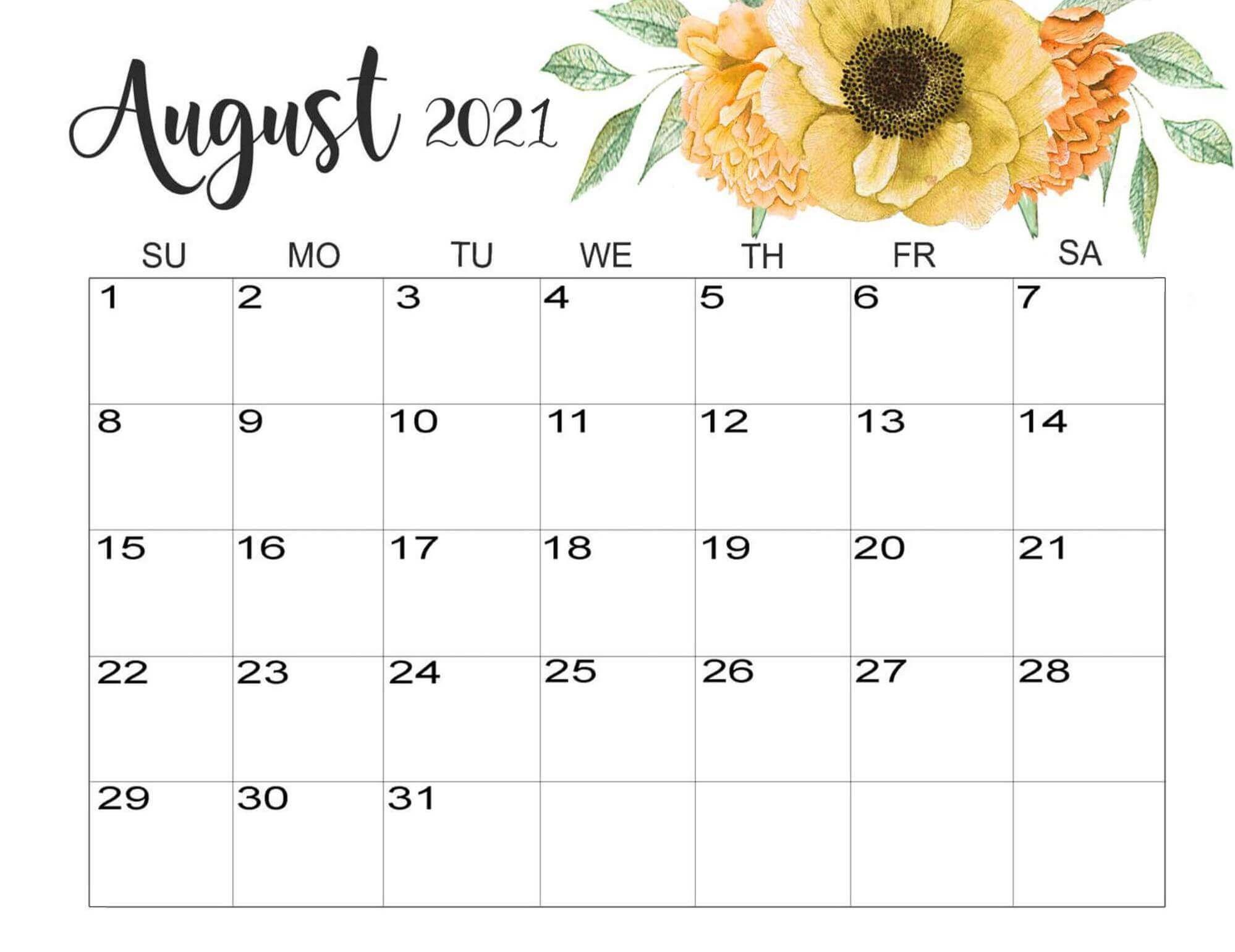 Cute August 2021 Floral Calendar