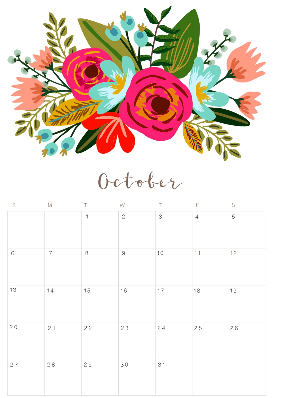 Cute October 2019 Calendar Floral