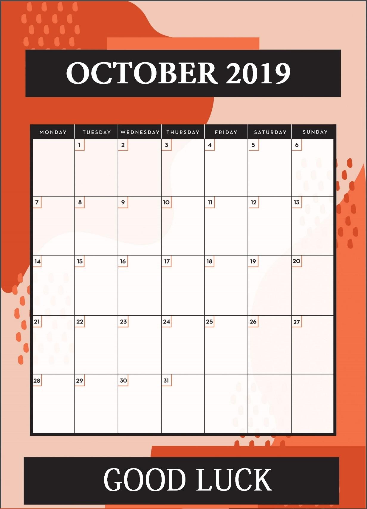 Cute October 2019 Calendar for iPhone