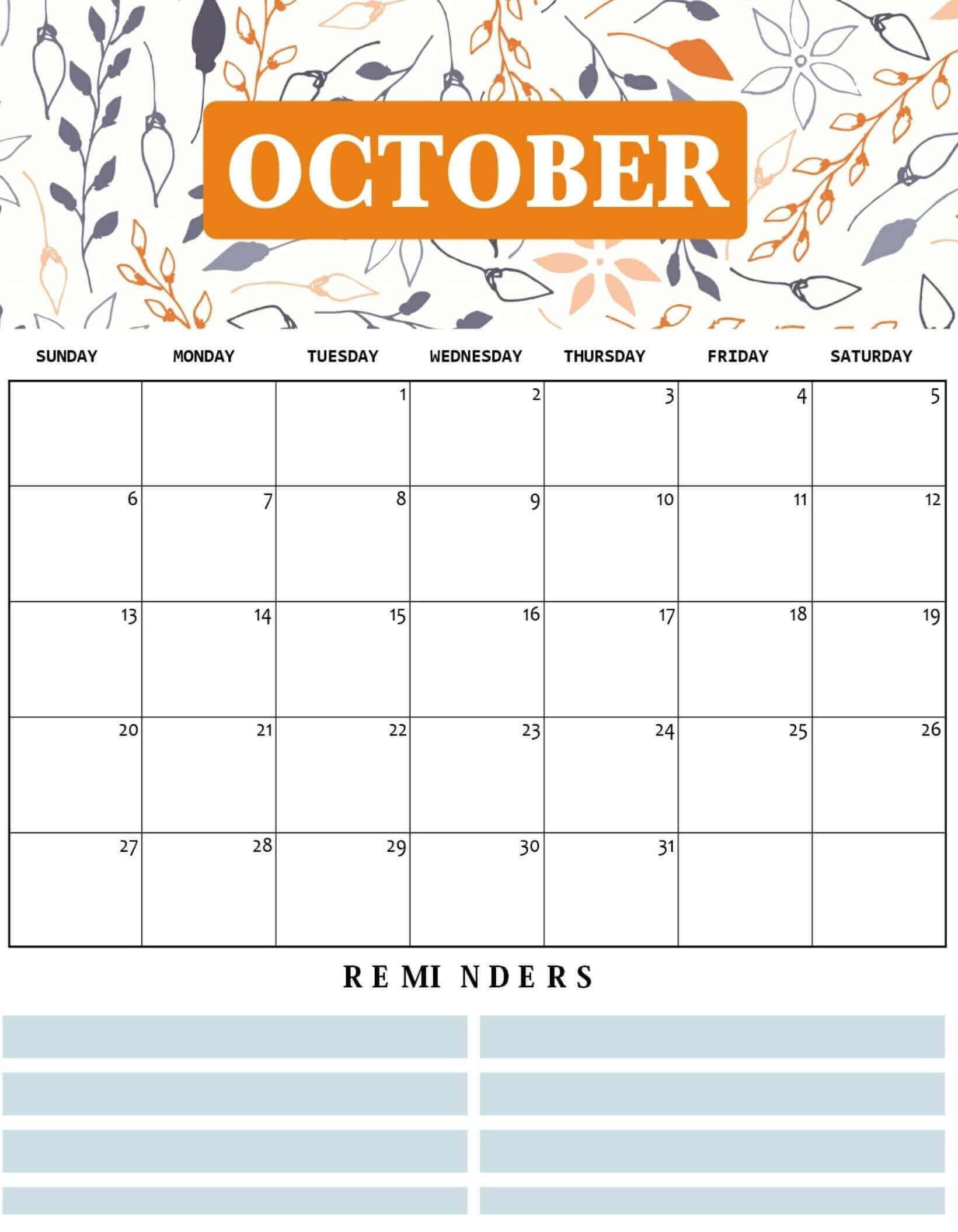 Cute October 2020 Floral Wall Calendar