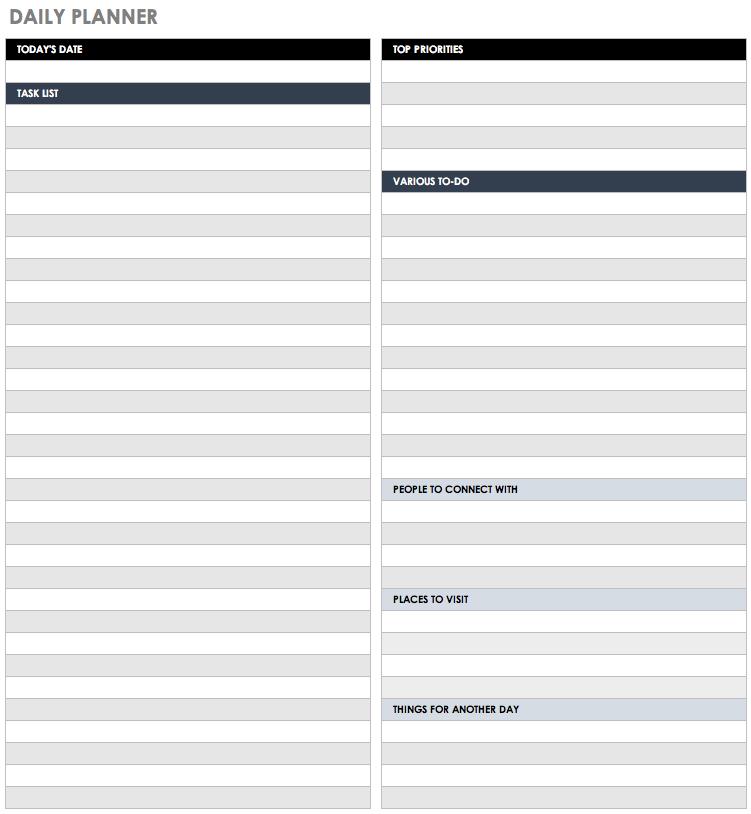 Daily Planner Calendar Excel