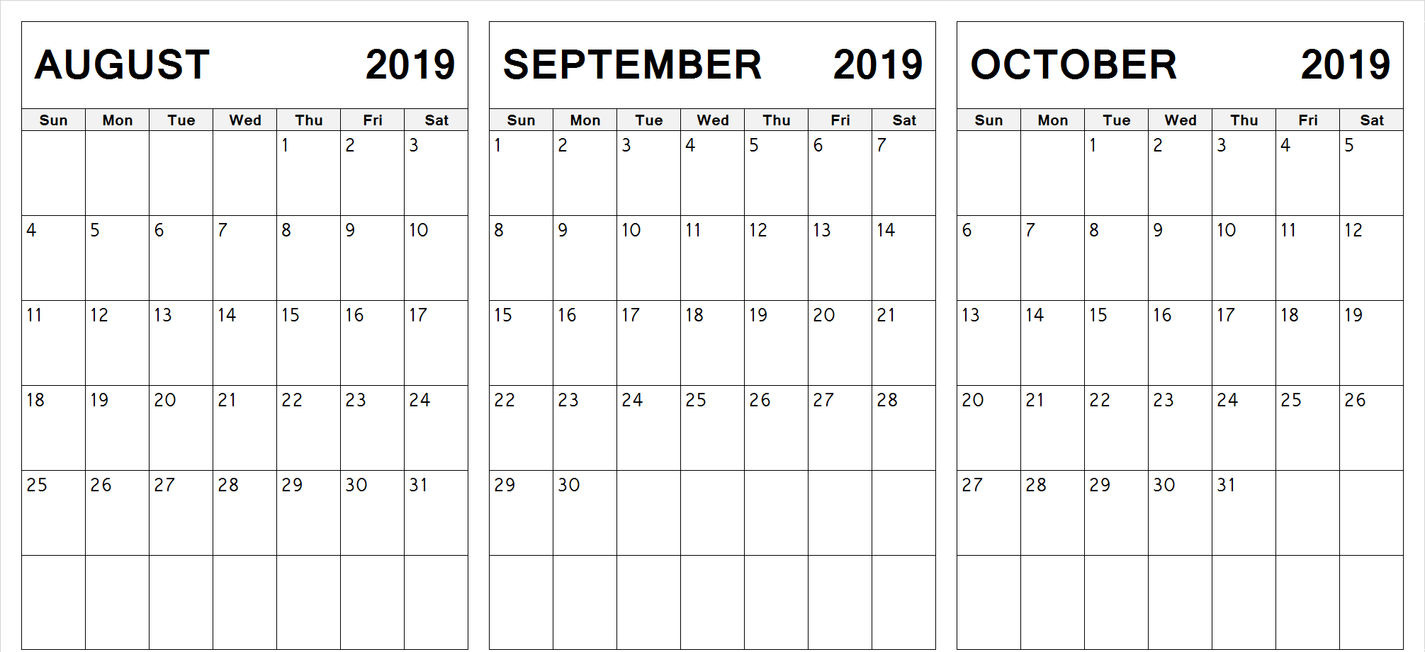 Edit Printable August September October 2019 Calendar