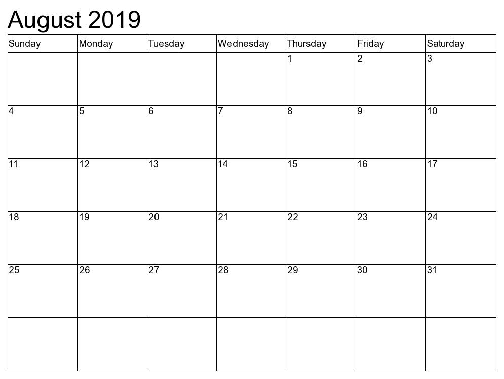 Editable 2019 August Calendar Template