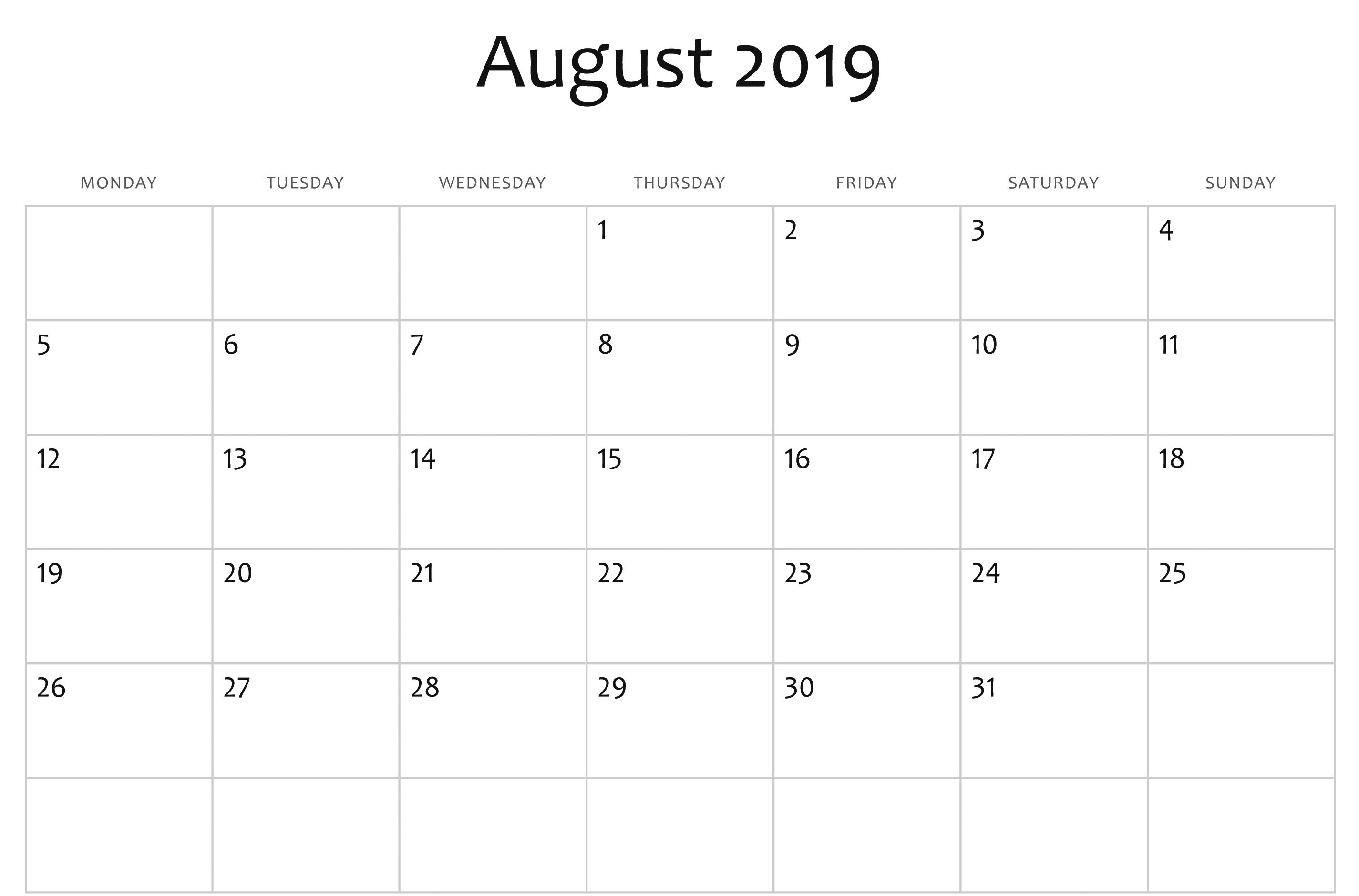 Editable August 2019 Calendar