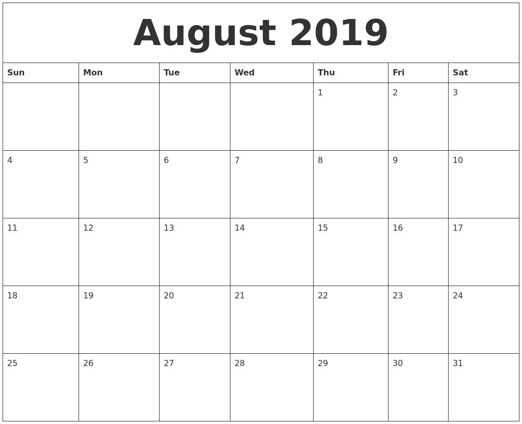 Editable August Calendar 2019