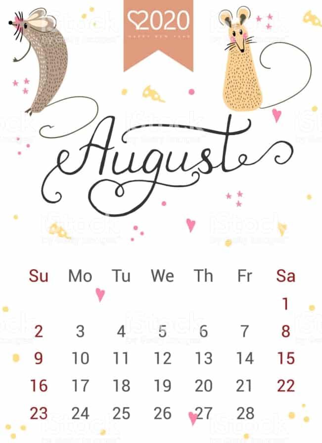 Floral August 2020 Calendar Wall