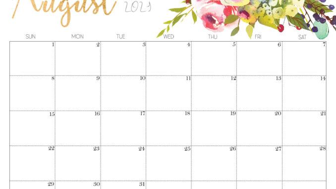 Floral August 2021 Calendar Template
