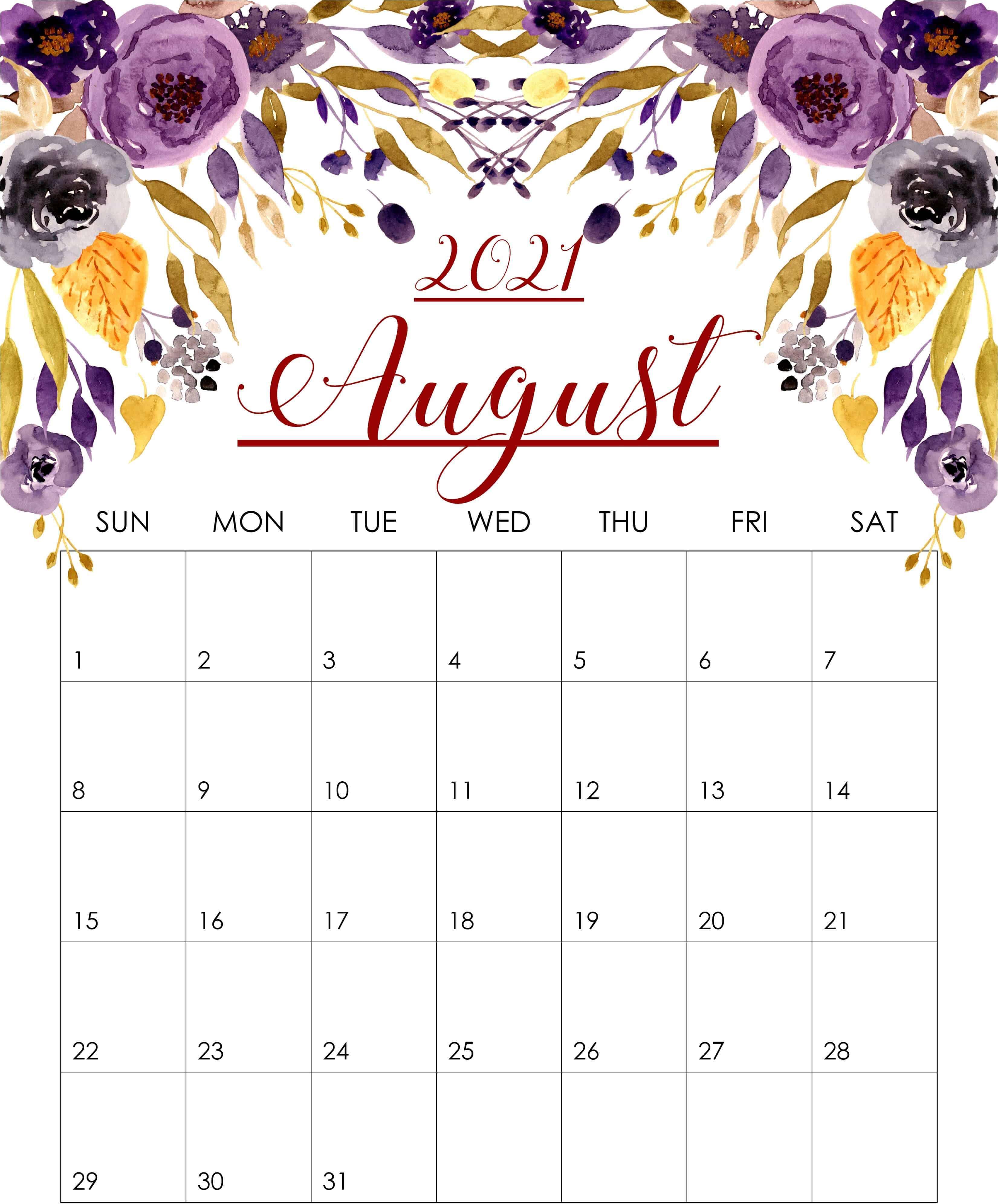 Floral August 2021 iPhone Calendar Wallpaper