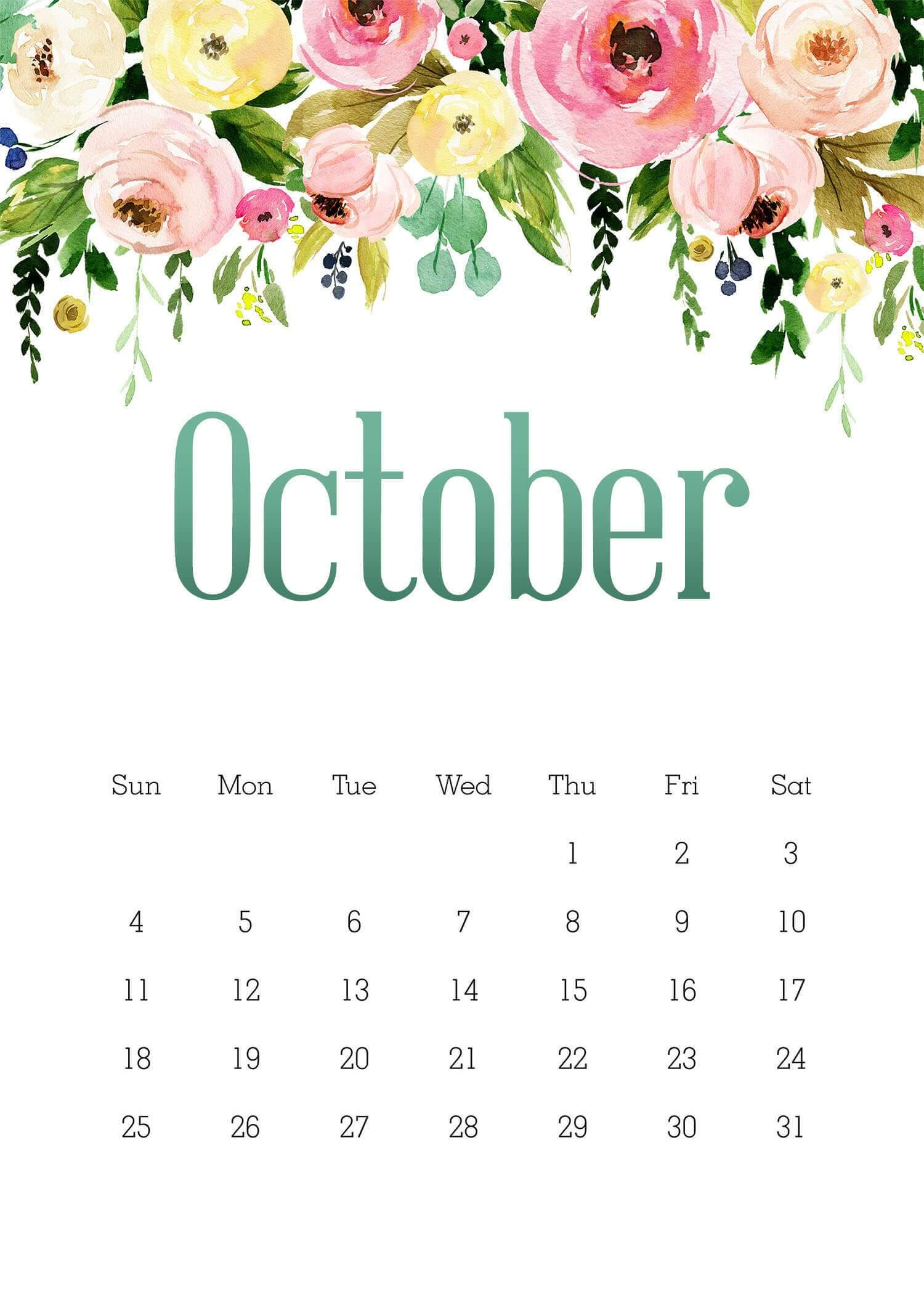Floral October 2020 Wall Calendar Cute