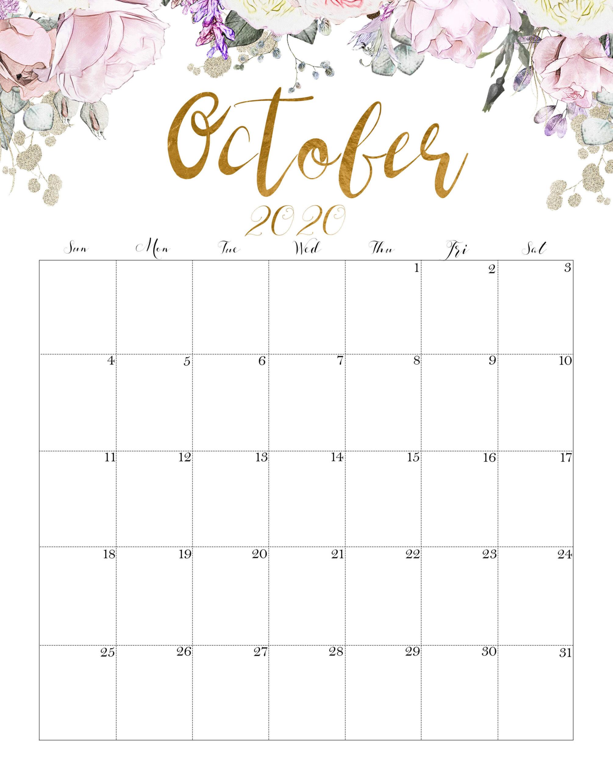 Floral October 2020 Wall Calendar Printable