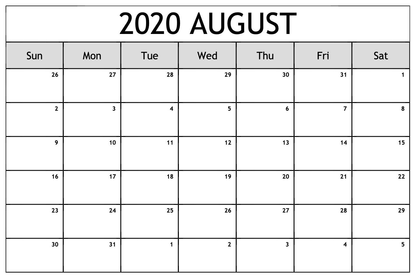 Free August 2020 Blank Calendar