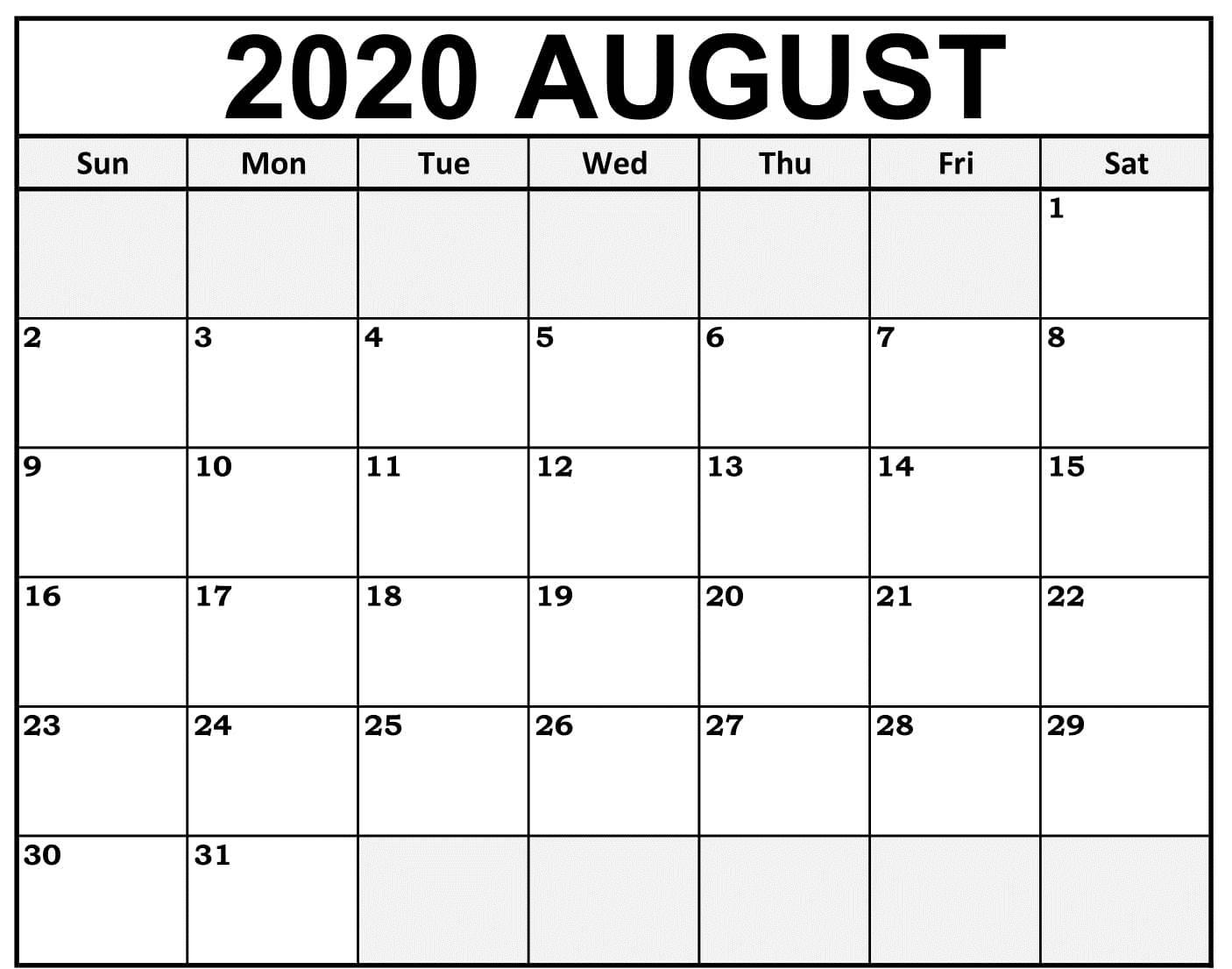 Free August 2020 Calendar Blank
