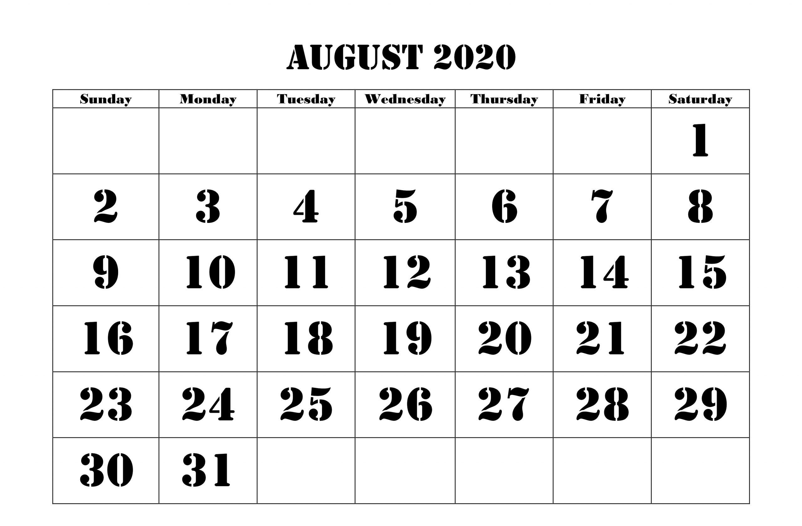 August Calendar 2020 Printable