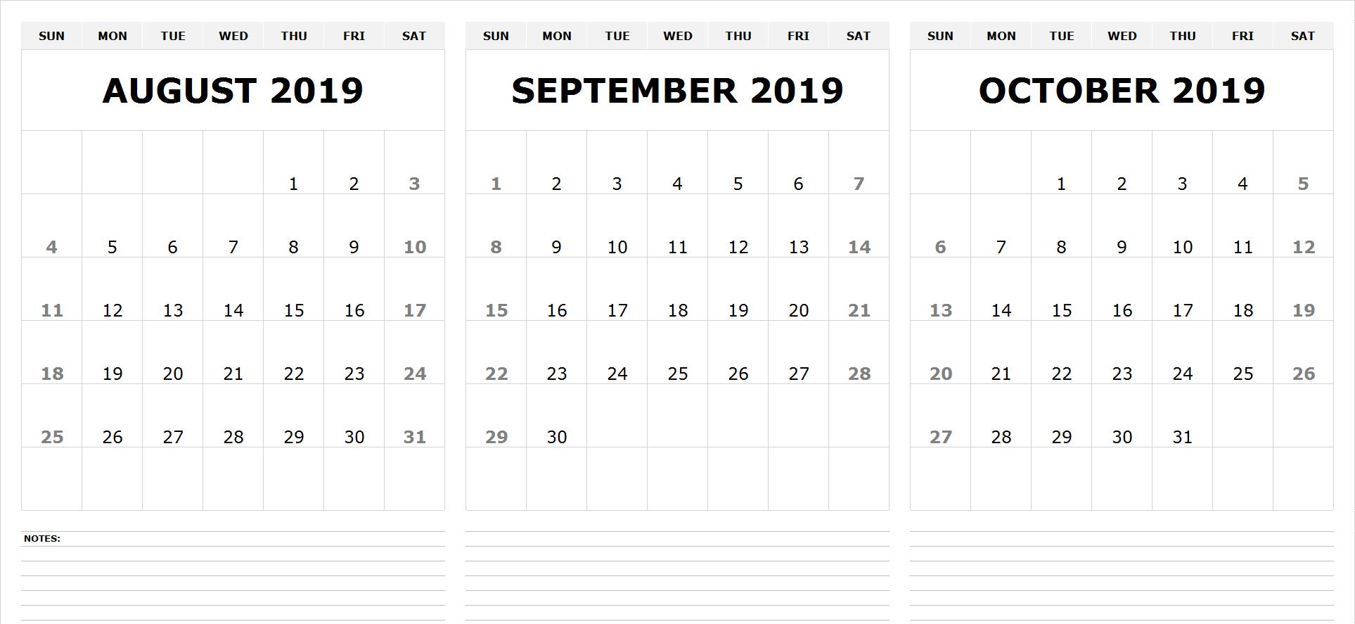 Free Printable August September October 2019 Calendar