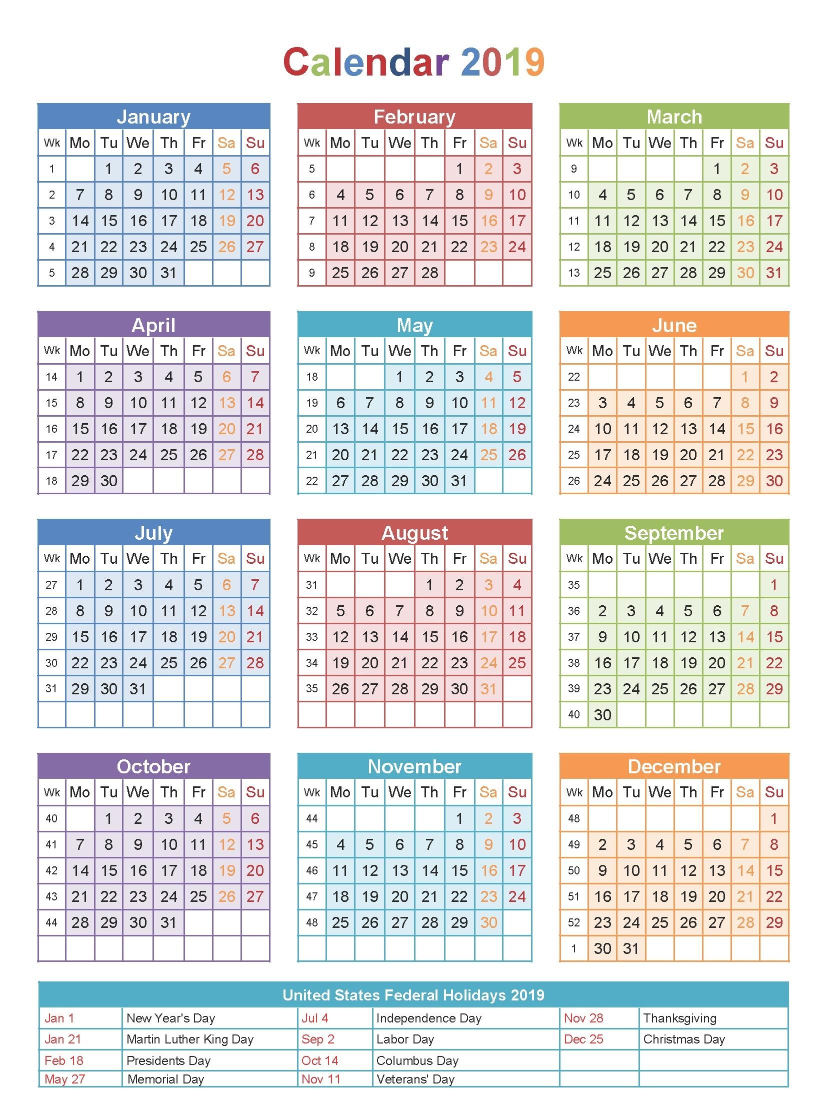 Holidays Calendar 2019