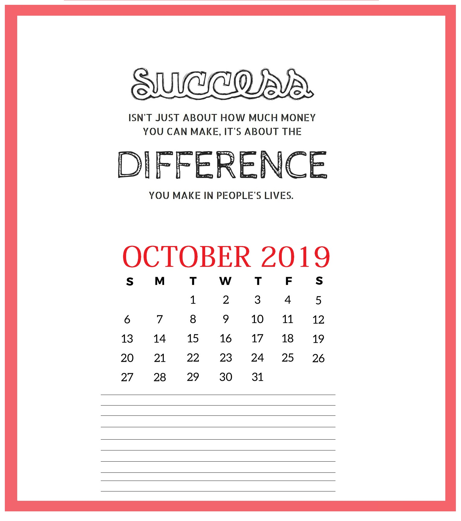 Motivational October 2019 Wall Calendar
