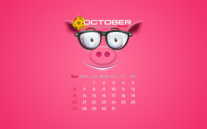 October 2019 Calendar Pink Color