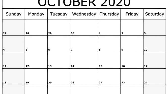 October 2020 Calendar Printable Template