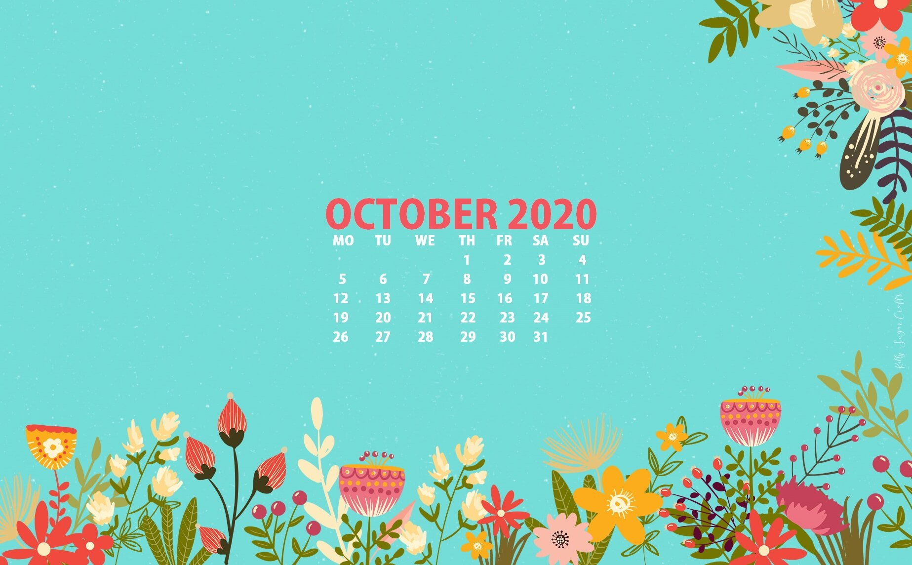 October 2020 Calendar Wallpaper for Desktop
