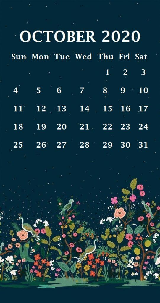 October 2020 Calendar Wallpaper for iPhone