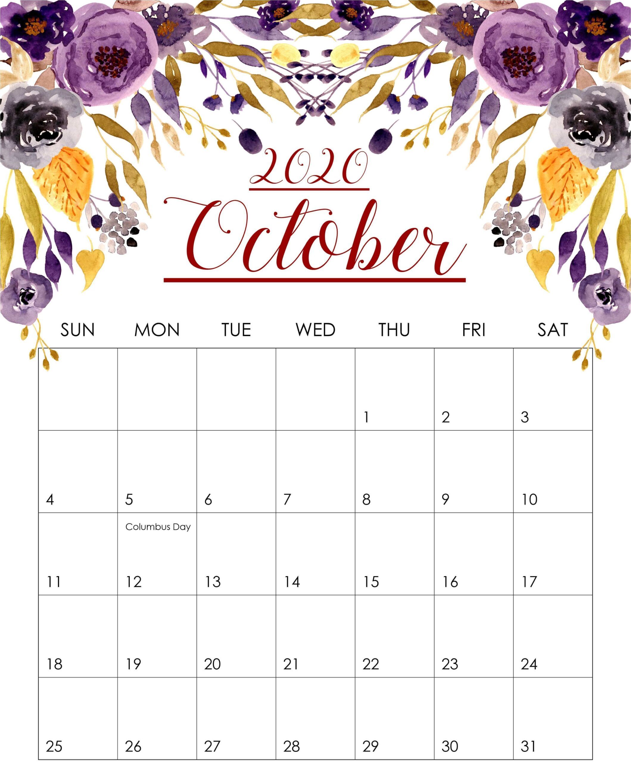 October 2020 Floral Wall Calendar