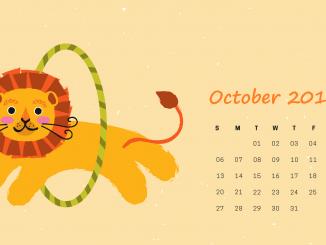 October Calendar 2019 Wallpaper for Laptop