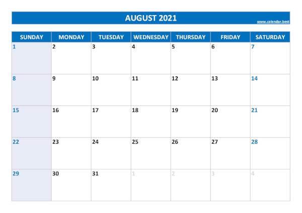 Print August 2021 Calendar Landscape