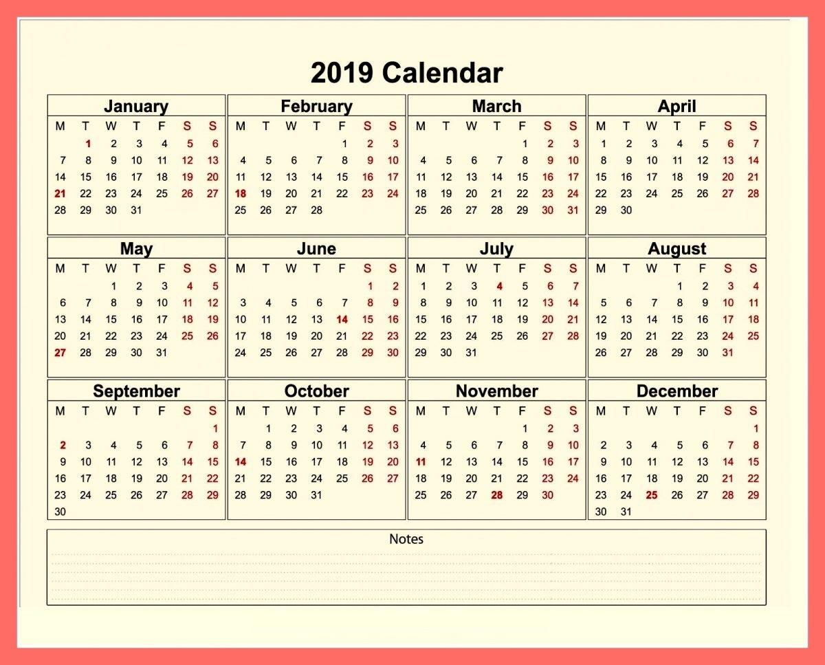 2019 Calendar Printable Cute