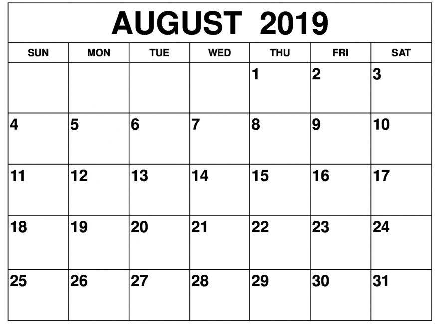 Printable August 2019 Calendar Blank Template