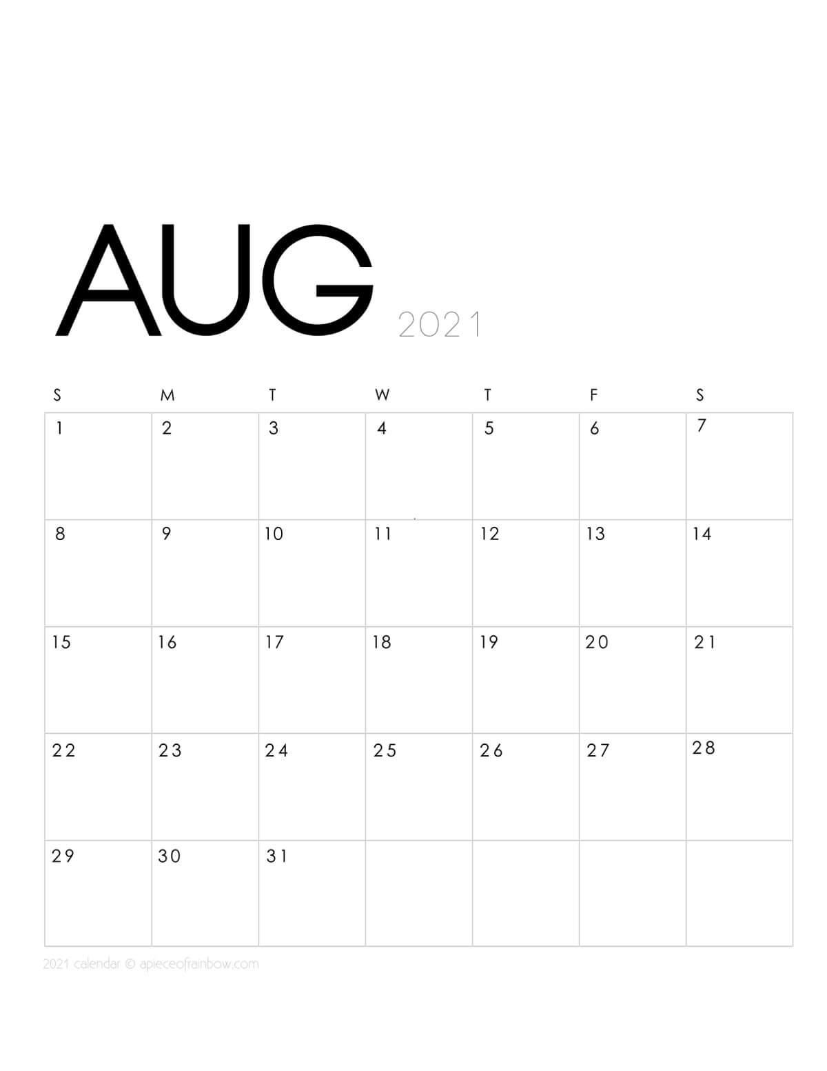 Printable August 2021 Calendar Monthly Planner