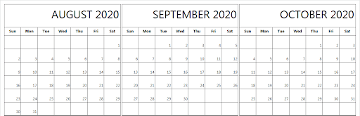 Printable August September October 2020 Calendar