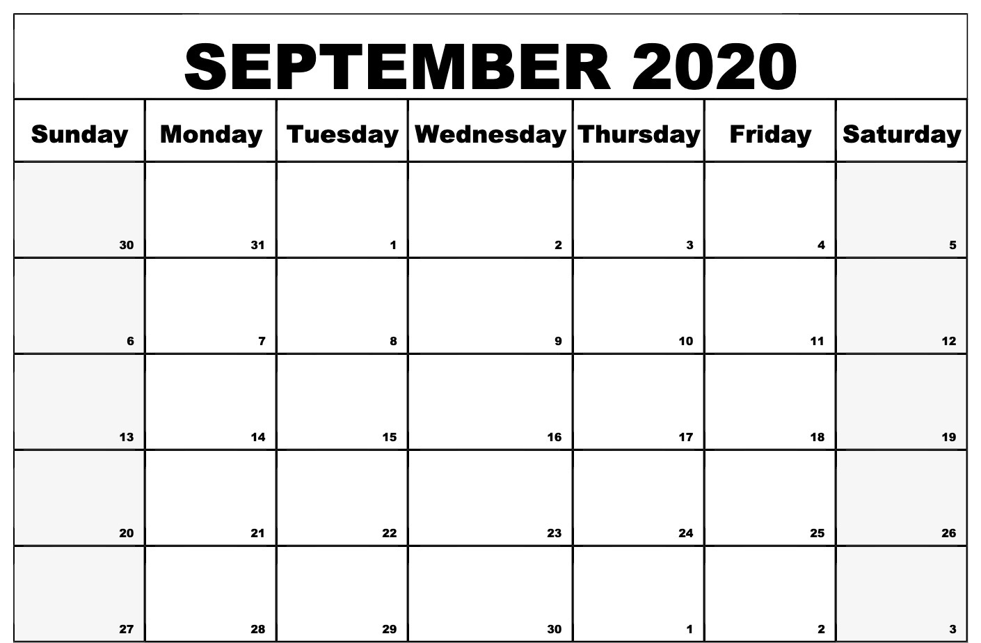 Printable September 2020 Calendar Template
