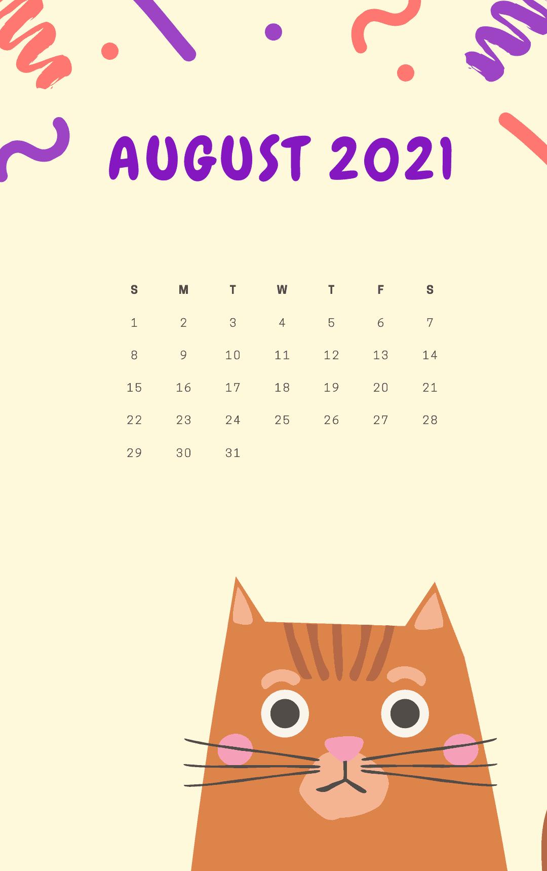 iPhone August 2021 Calendar Wallpaper