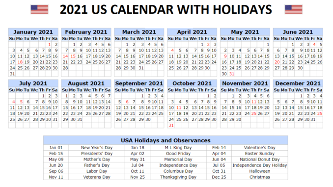 2021 US Calendar with Holidays